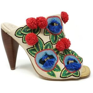 NWOB Tory Burch Ellis Pom Embroidered Mule Sandals